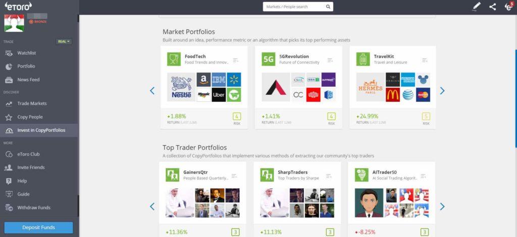 Etoro recensione - Mercati e prodotti - Copia fondi