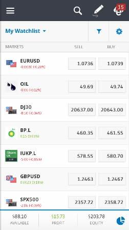 etoro - Piattaforma di trading mobile