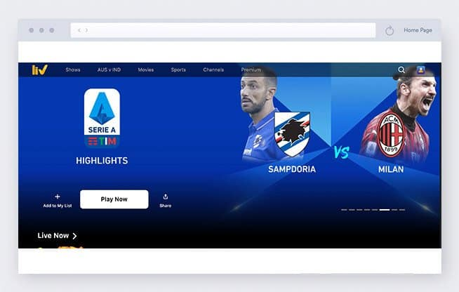sonyliv - calcio streaming
